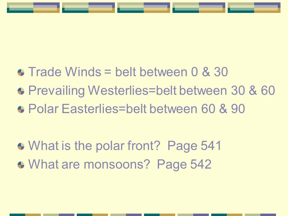 Trade Winds = belt between 0 & 30 Prevailing Westerlies=belt between 30 & 60 Polar Easterlies=belt between 60 & 90 What is the polar front.