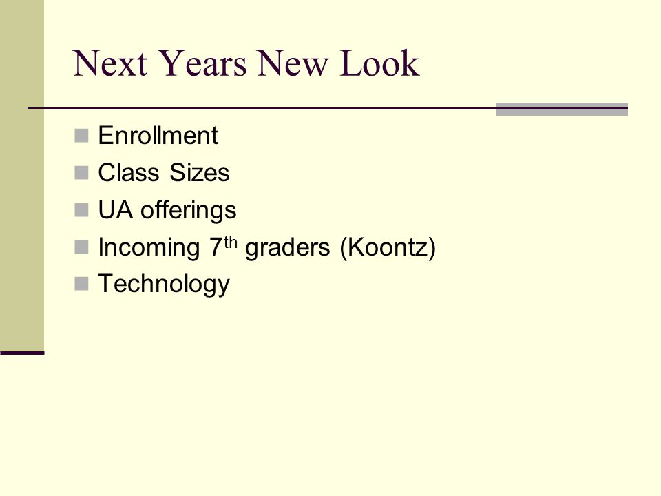 Next Years New Look Enrollment Class Sizes UA offerings Incoming 7 th graders (Koontz) Technology