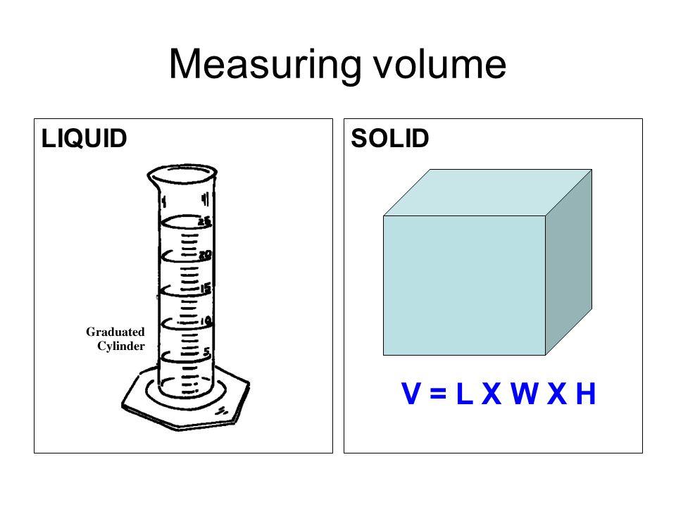 Measuring volume LIQUIDSOLID V = L X W X H