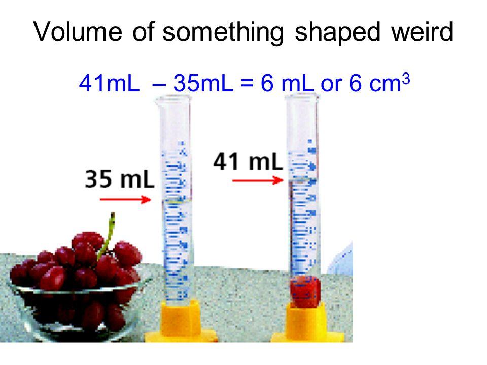 Volume of something shaped weird 41mL – 35mL = 6 mL or 6 cm 3