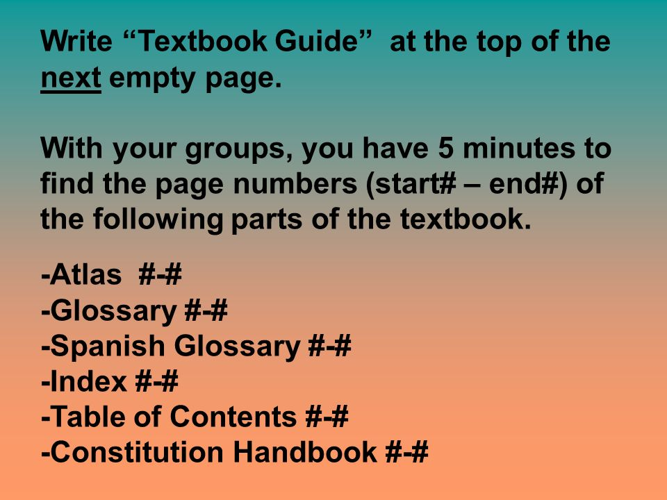Write Textbook Guide at the top of the next empty page.