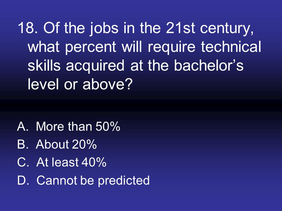 18. Of the jobs in the 21st century, what percent will require technical skills acquired at the bachelors level or above? A. More than 50% B. About 20