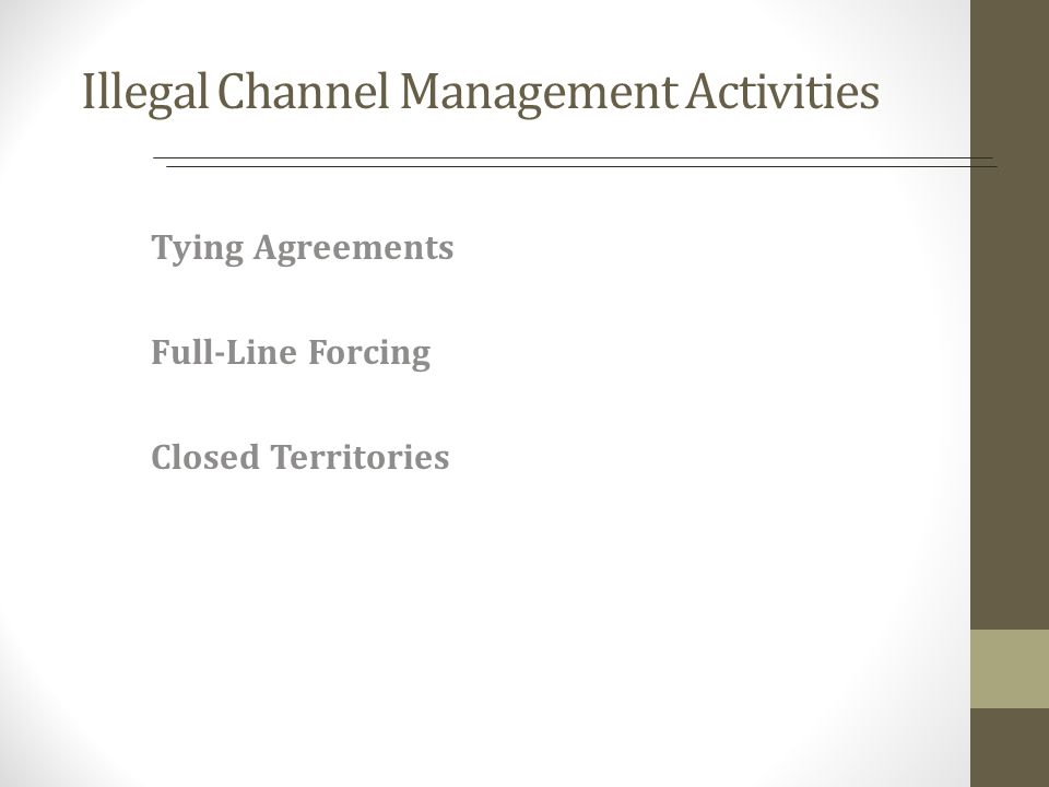 Illegal Channel Management Activities Tying Agreements Full-Line Forcing Closed Territories