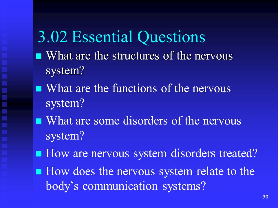 50 3.02 Essential Questions What are the structures of the nervous system? What are the structures of the nervous system? What are the functions of th