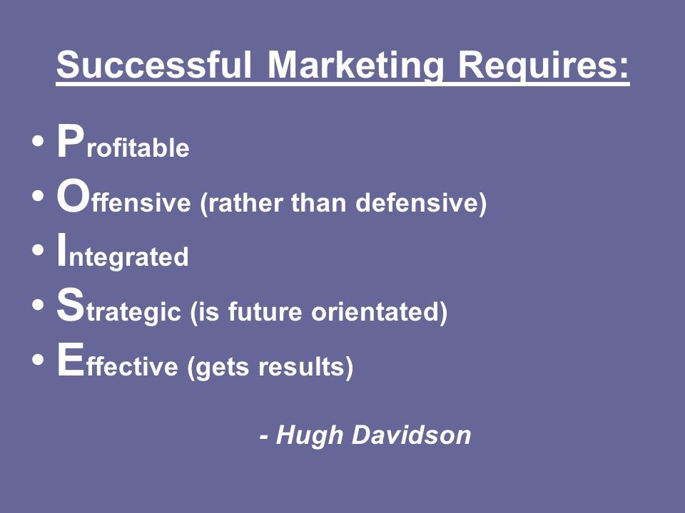 Successful Marketing Requires: P rofitable O ffensive (rather than defensive) I ntegrated S trategic (is future orientated) E ffective (gets results)