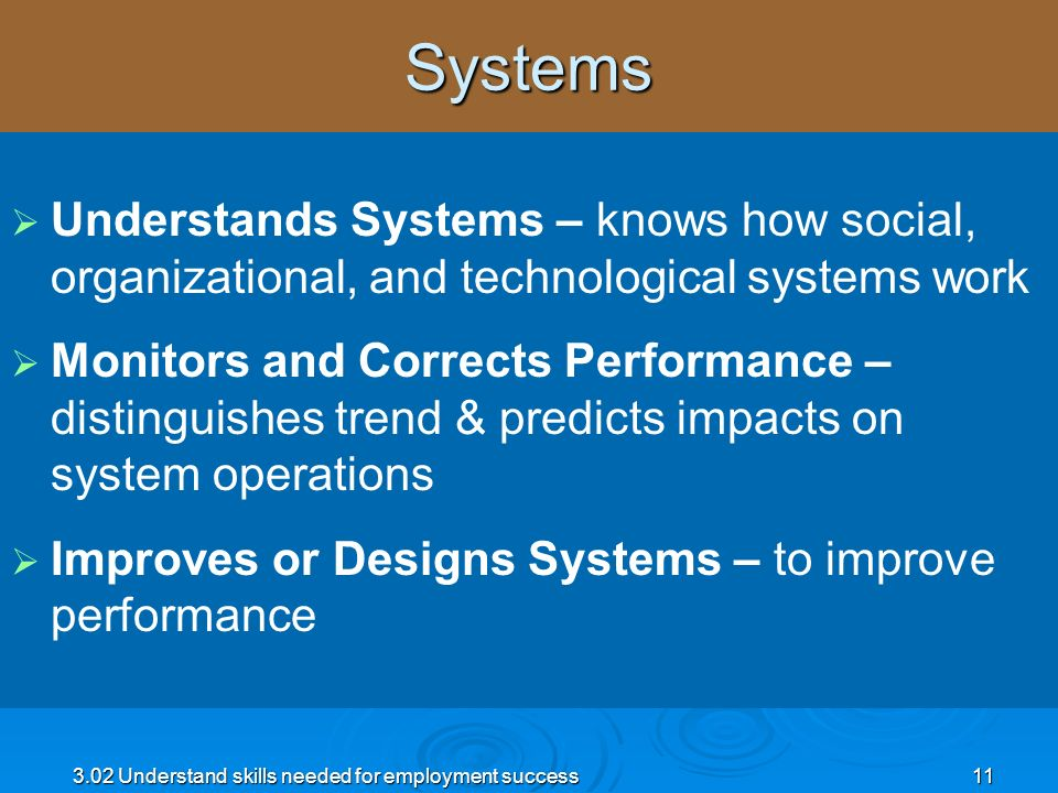 3.02 Understand skills needed for employment success11Systems Understands Systems – knows how social, organizational, and technological systems work M