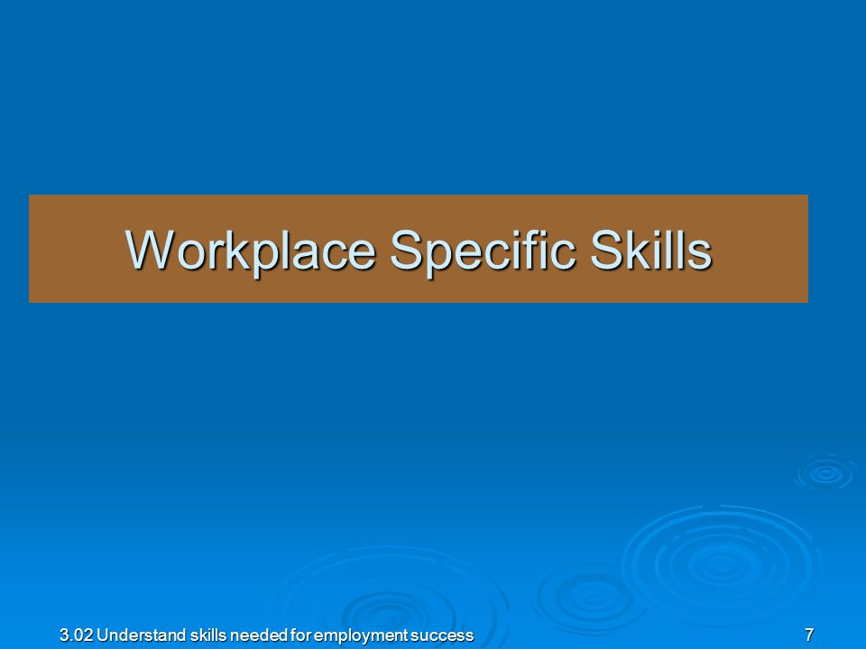 3.02 Understand skills needed for employment success7 Workplace Specific Skills