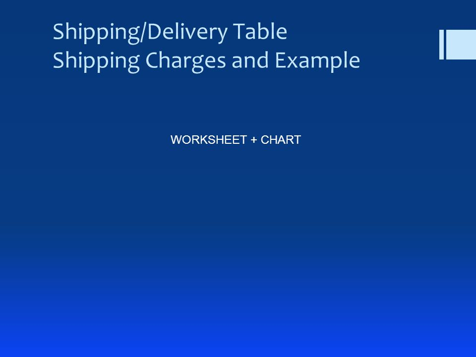 Shipping/Delivery Table Shipping Charges and Example WORKSHEET + CHART