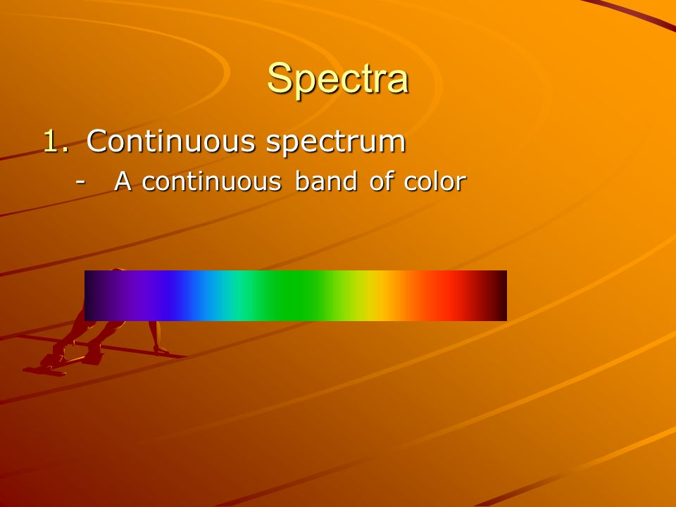 Spectra 1.Continuous spectrum -A continuous band of color