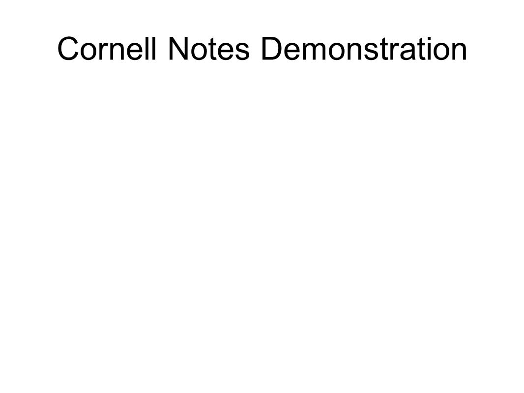 Cornell Notes Demonstration