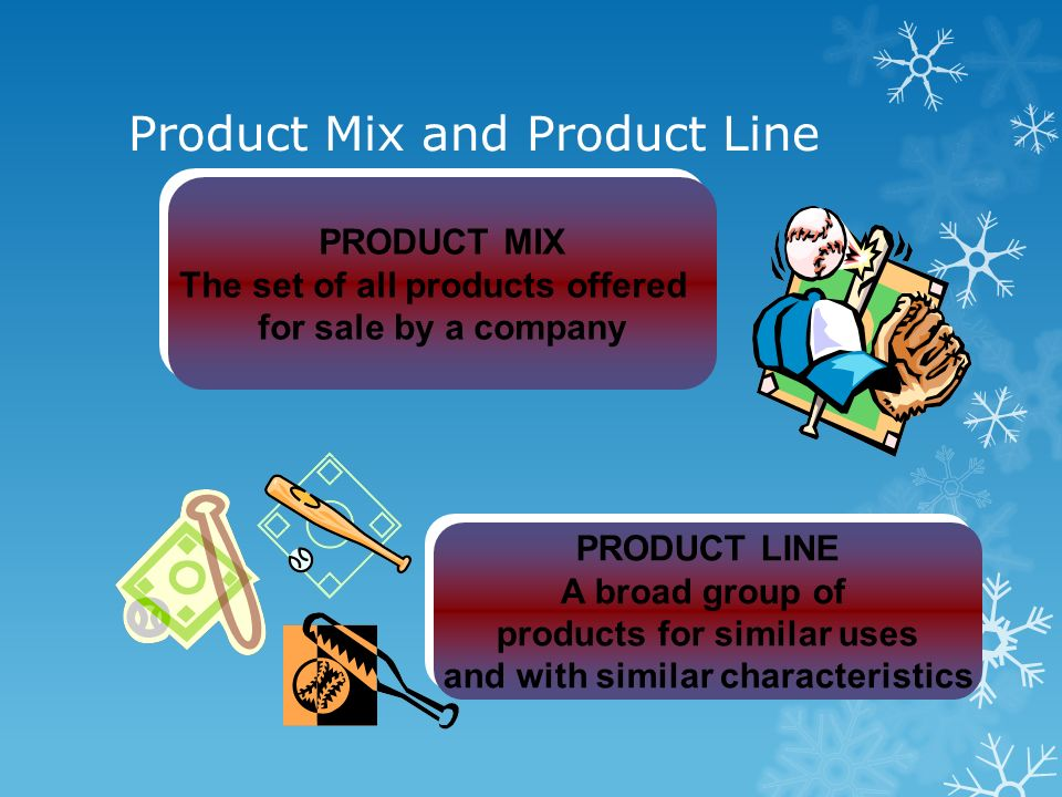 Product Mix and Product Line PRODUCT MIX The set of all products offered for sale by a company PRODUCT MIX The set of all products offered for sale by