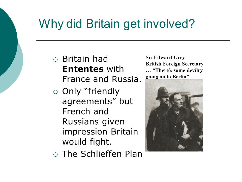 Why did Britain get involved? Britain had Ententes with France and Russia. Only friendly agreements but French and Russians given impression Britain w