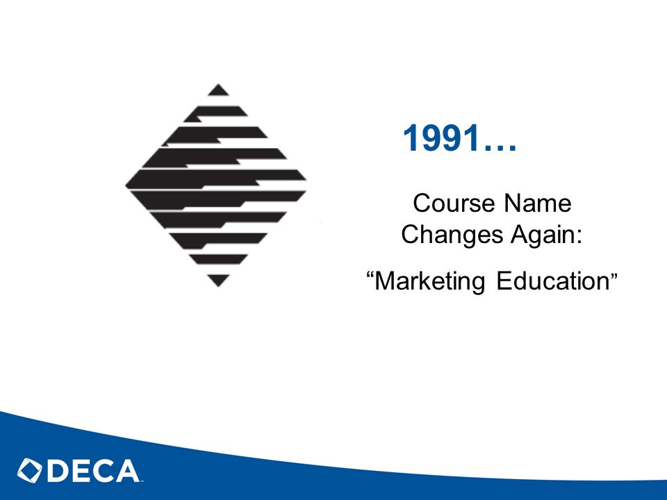 1991… Course Name Changes Again: Marketing Education