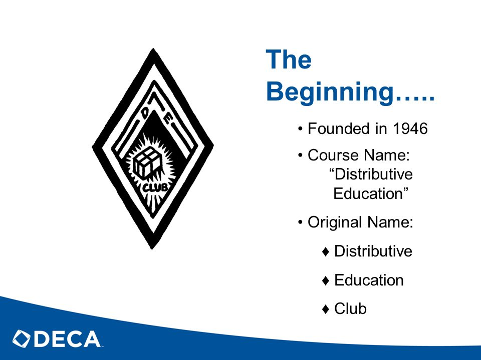 The Beginning….. Founded in 1946 Course Name: Distributive Education Original Name: Distributive Education Club