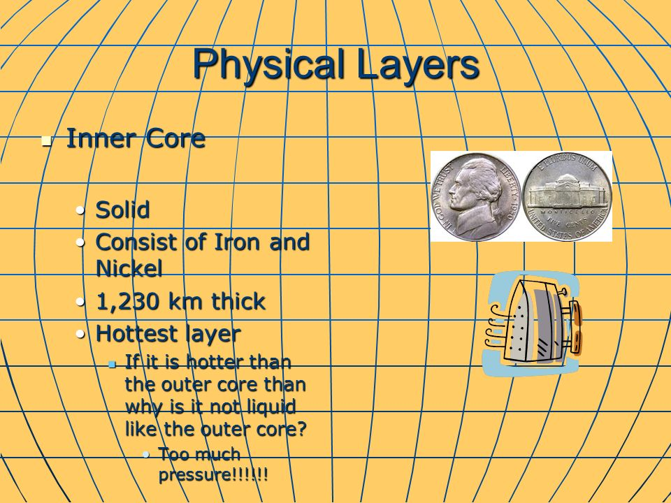 Physical Layers Inner Core Inner Core SolidSolid Consist of Iron and NickelConsist of Iron and Nickel 1,230 km thick1,230 km thick Hottest layerHottest layer If it is hotter than the outer core than why is it not liquid like the outer core.