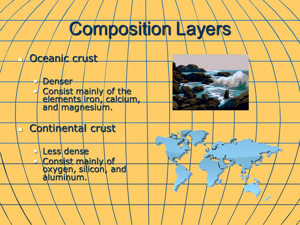 Composition Layers Oceanic crust Oceanic crust DenserDenser Consist mainly of the elements iron, calcium, and magnesium.Consist mainly of the elements iron, calcium, and magnesium.