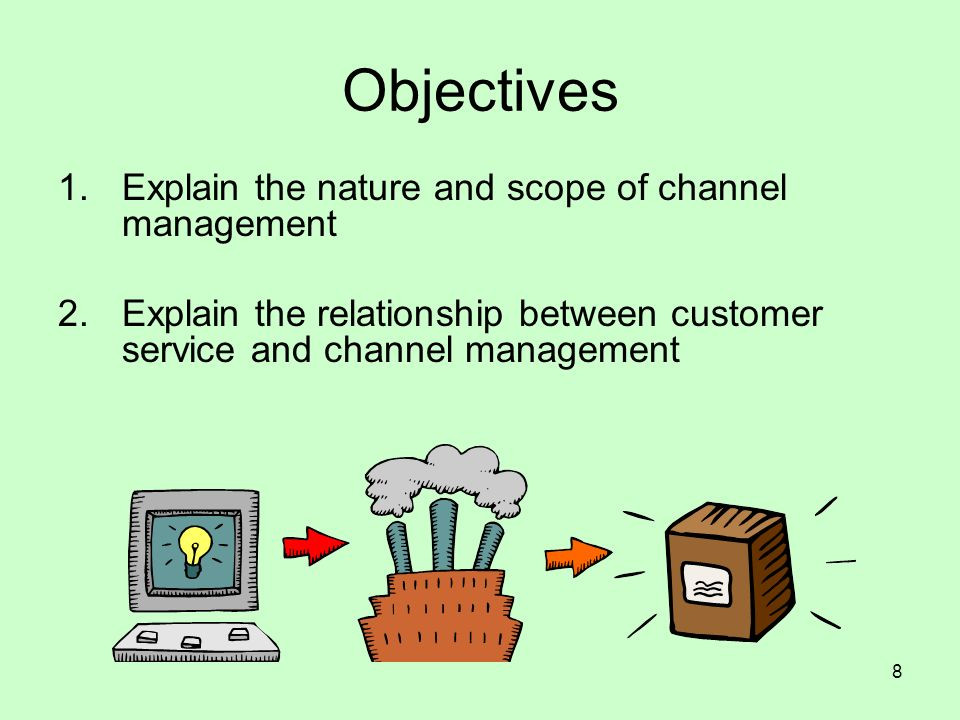 8 Objectives 1.Explain the nature and scope of channel management 2.Explain the relationship between customer service and channel management