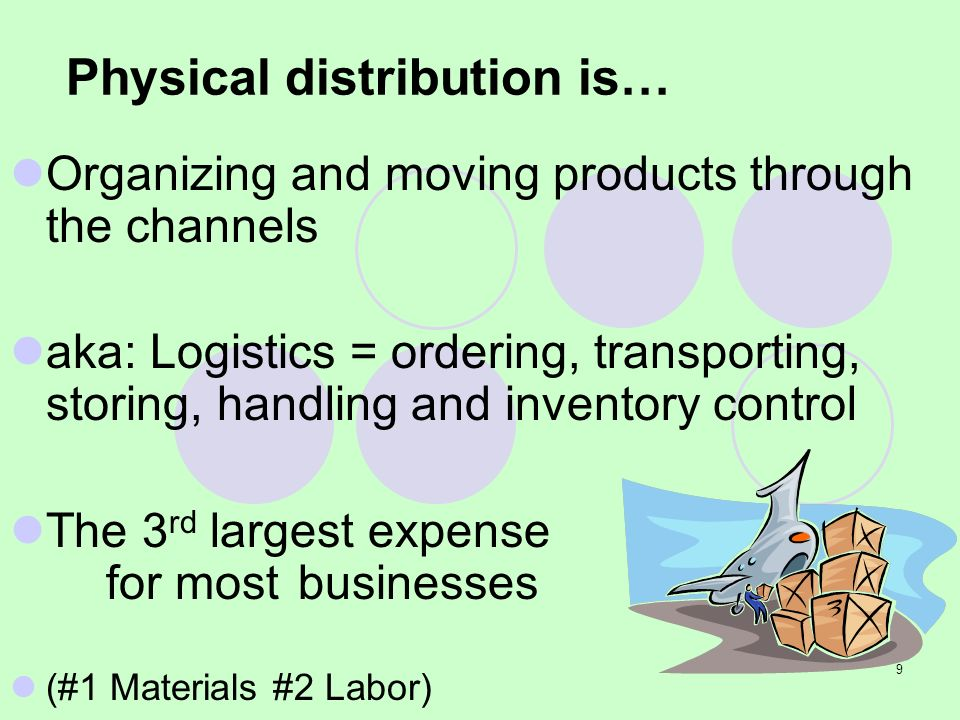9 Physical distribution is… Organizing and moving products through the channels aka: Logistics = ordering, transporting, storing, handling and invento
