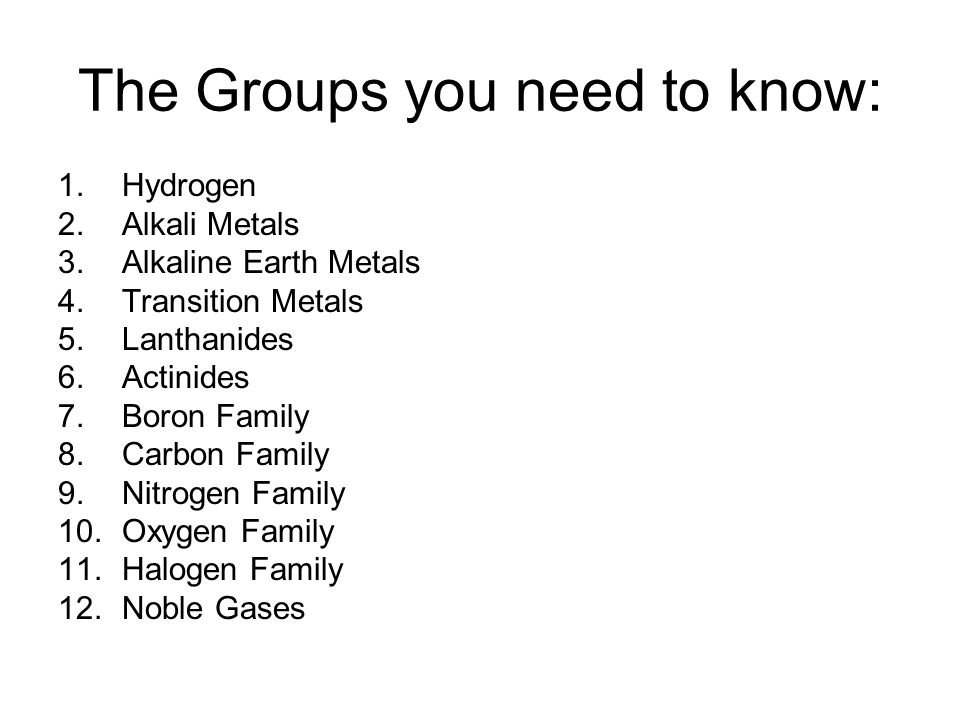 The Groups you need to know: 1.Hydrogen 2.Alkali Metals 3.Alkaline Earth Metals 4.Transition Metals 5.Lanthanides 6.Actinides 7.Boron Family 8.Carbon