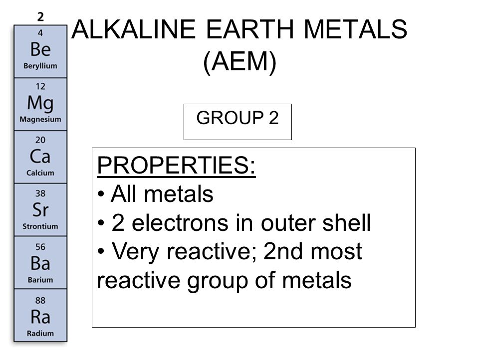 TRANSITION METALS PROPERTIES: Contains all metals 1 or 2 electrons in outer shell Reactive,3 rd most reactive group of metals GROUP 3 – 12