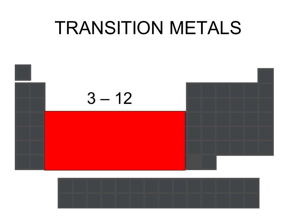 TRANSITION METALS 3 – 12