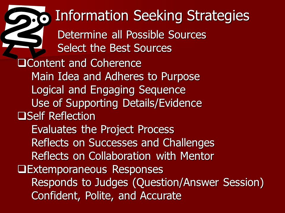 Information Seeking Strategies Determine all Possible Sources Select the Best Sources Content and Coherence Content and Coherence Main Idea and Adheres to Purpose Logical and Engaging Sequence Use of Supporting Details/Evidence Self Reflection Self Reflection Evaluates the Project Process Reflects on Successes and Challenges Reflects on Collaboration with Mentor Extemporaneous Responses Extemporaneous Responses Responds to Judges (Question/Answer Session) Confident, Polite, and Accurate