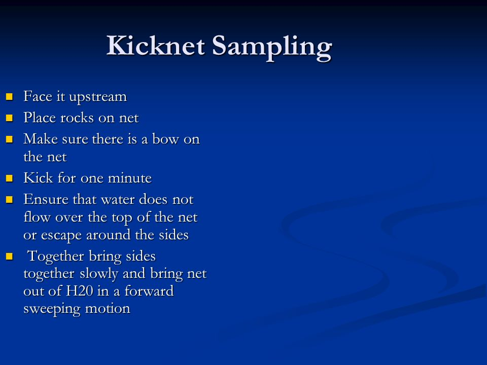 Kicknet Sampling Face it upstream Face it upstream Place rocks on net Place rocks on net Make sure there is a bow on the net Make sure there is a bow on the net Kick for one minute Kick for one minute Ensure that water does not flow over the top of the net or escape around the sides Ensure that water does not flow over the top of the net or escape around the sides Together bring sides together slowly and bring net out of H20 in a forward sweeping motion Together bring sides together slowly and bring net out of H20 in a forward sweeping motion