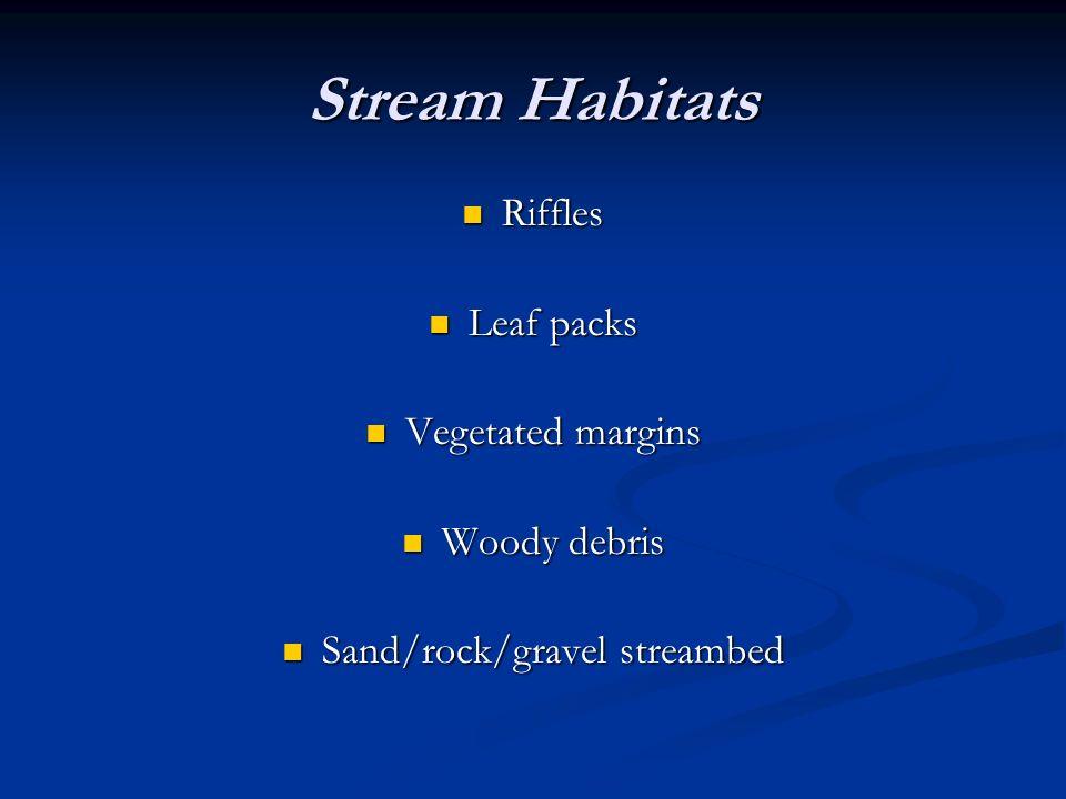 Stream Habitats Riffles Riffles Leaf packs Leaf packs Vegetated margins Vegetated margins Woody debris Woody debris Sand/rock/gravel streambed Sand/ro