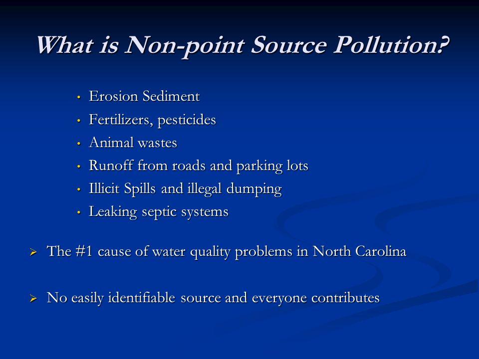 What is Non-point Source Pollution? Erosion Sediment Erosion Sediment Fertilizers, pesticides Fertilizers, pesticides Animal wastes Animal wastes Runo