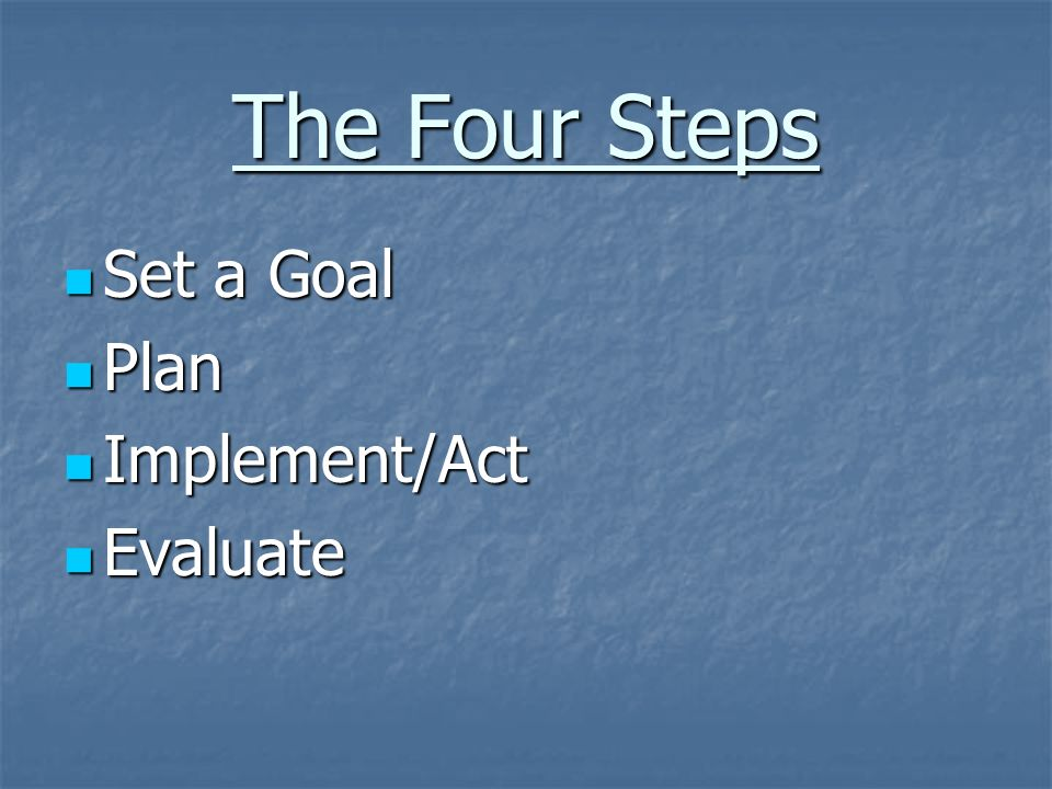 The Four Steps Set a Goal Set a Goal Plan Plan Implement/Act Implement/Act Evaluate Evaluate