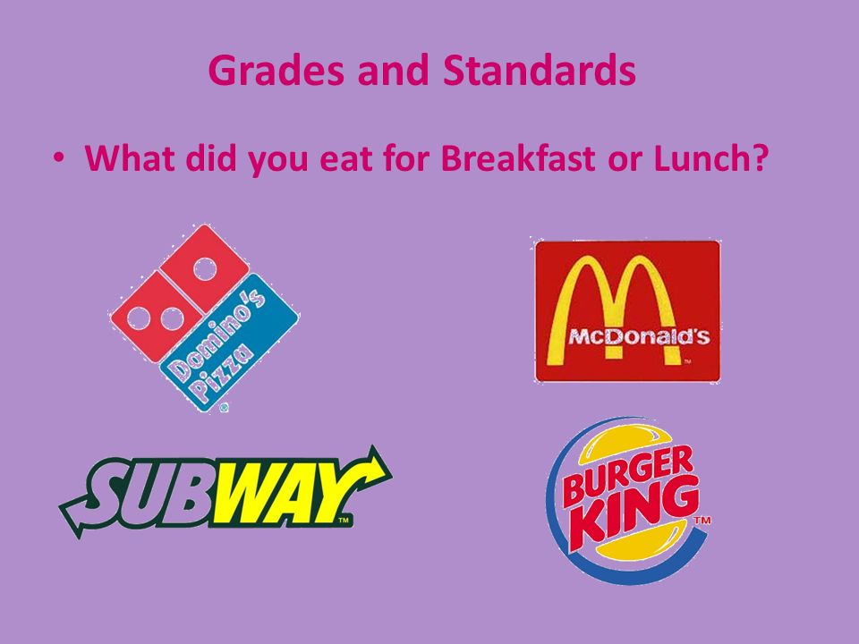 What did you eat for Breakfast or Lunch? Grades and Standards