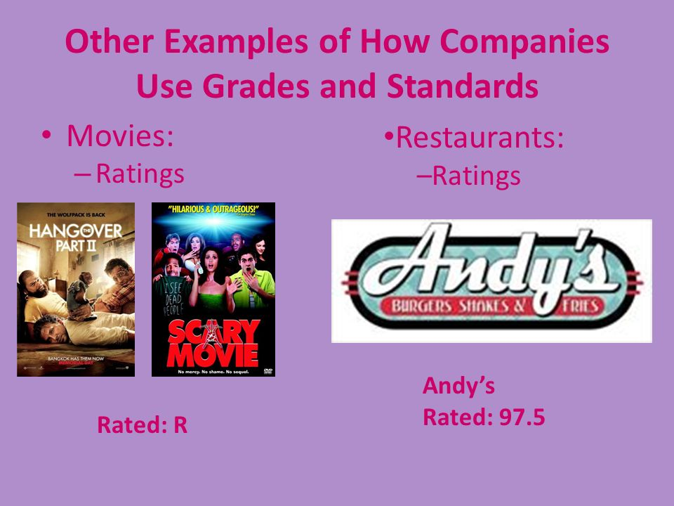 Other Examples of How Companies Use Grades and Standards Movies: – Ratings Rated: R Restaurants: –Ratings Andys Rated: 97.5