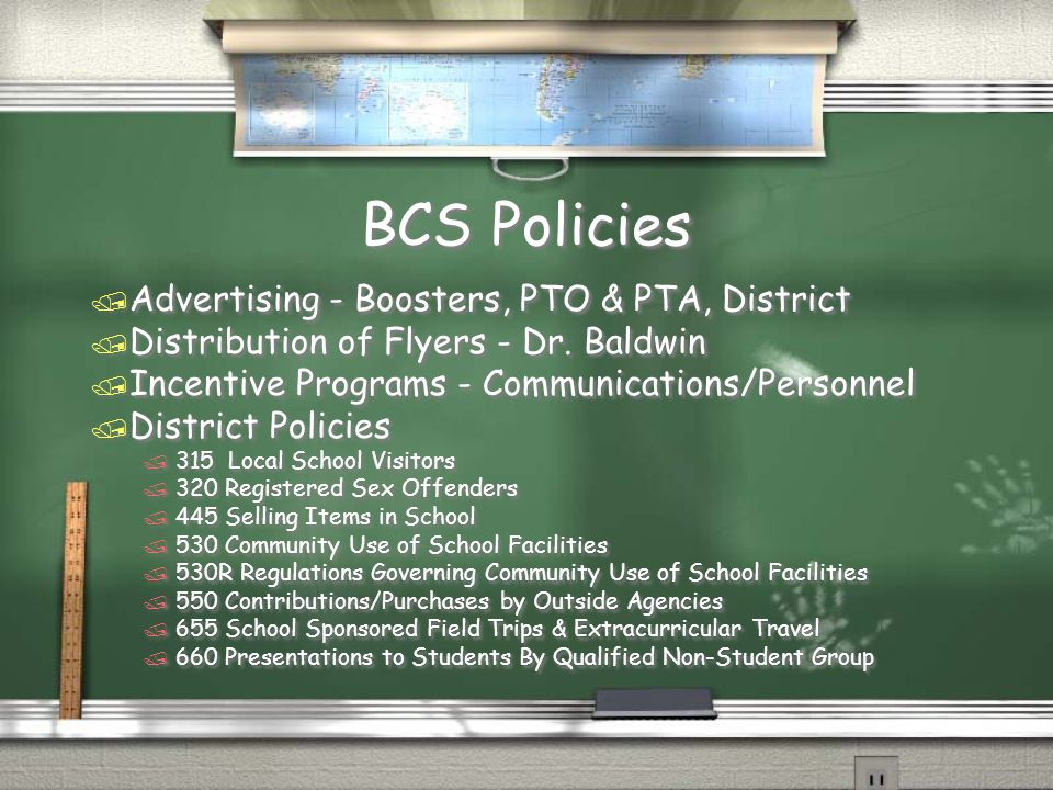 BCS Policies / Advertising - Boosters, PTO & PTA, District / Distribution of Flyers - Dr.