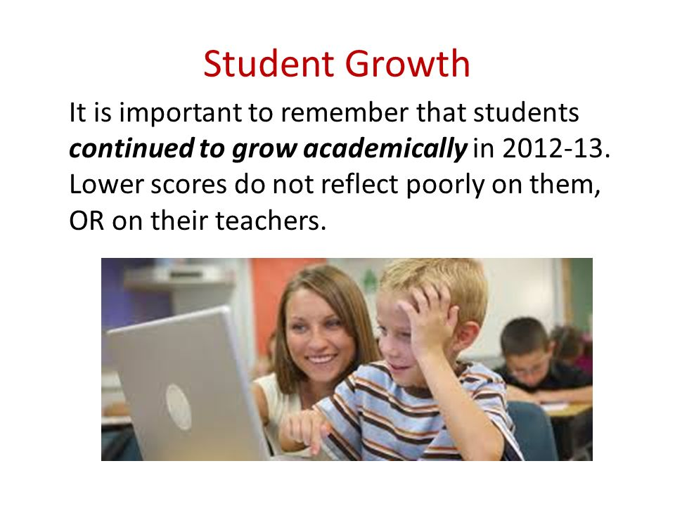 Student Growth It is important to remember that students continued to grow academically in 2012-13.