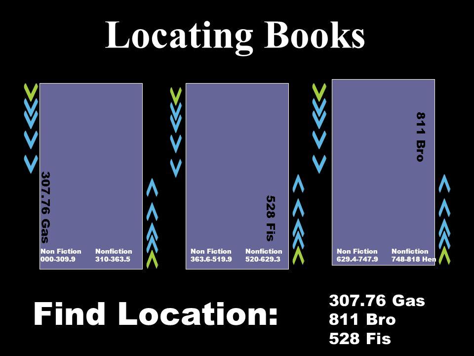 Locating Books Non Fiction Nonfiction 000-309.9 310-363.5 Non Fiction Nonfiction 363.6-519.9 520-629.3 307.76 Gas 811 Bro 528 Fis Non Fiction Nonfiction 629.4-747.9 748-818 Hen 307.76 Gas 811 Bro 528 Fis Find Location:
