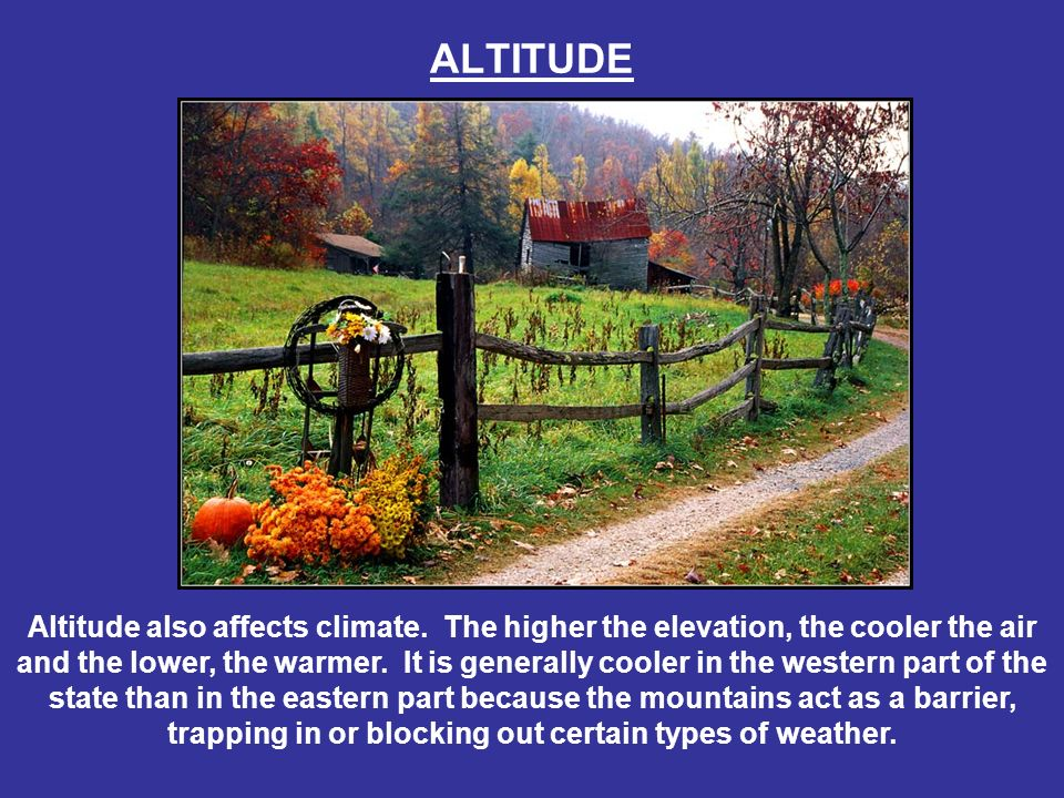 ALTITUDE Altitude also affects climate. The higher the elevation, the cooler the air and the lower, the warmer. It is generally cooler in the western