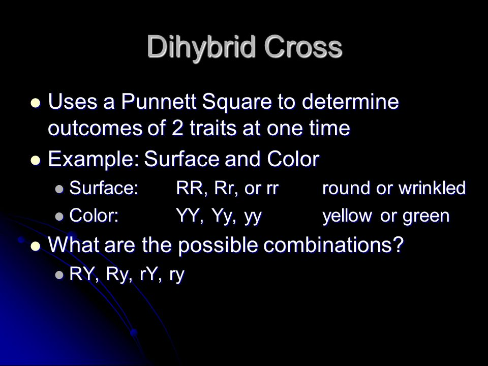 Dihybrid Cross Uses a Punnett Square to determine outcomes of 2 traits at one time Uses a Punnett Square to determine outcomes of 2 traits at one time