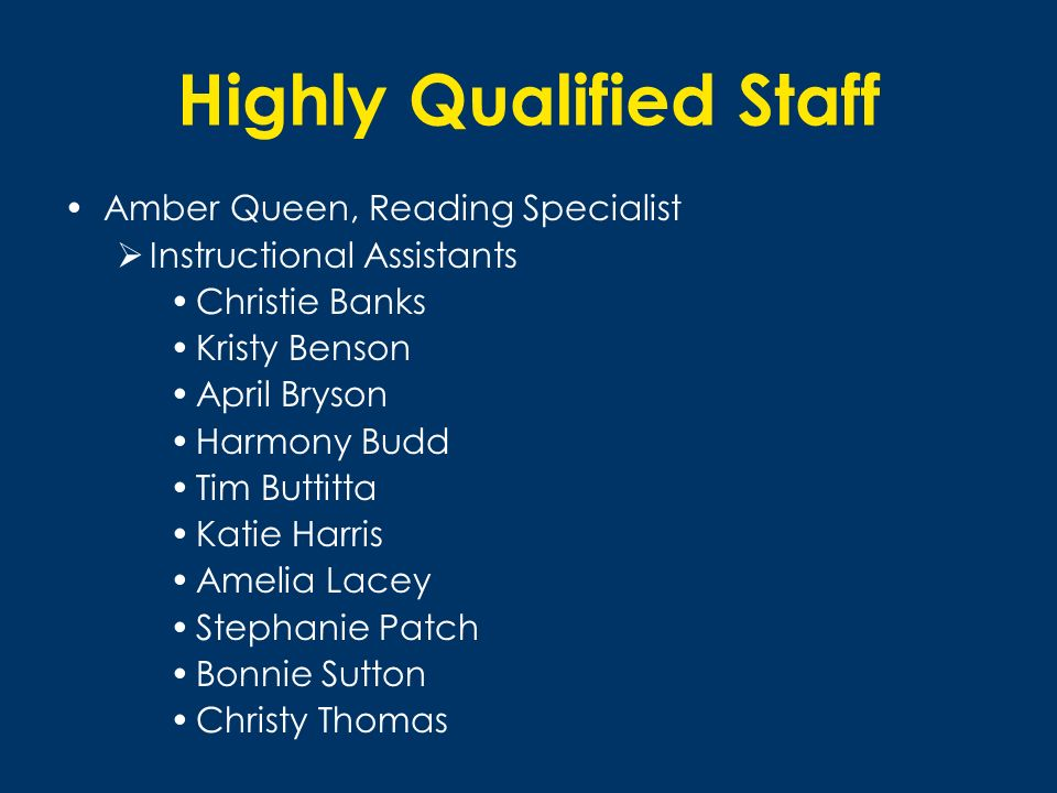 Highly Qualified Staff Amber Queen, Reading Specialist Instructional Assistants Christie Banks Kristy Benson April Bryson Harmony Budd Tim Buttitta Ka
