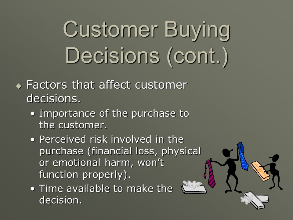 Customer Buying Decisions Factors that affect customer decisions. Factors that affect customer decisions. Amount of previous experience with the produ
