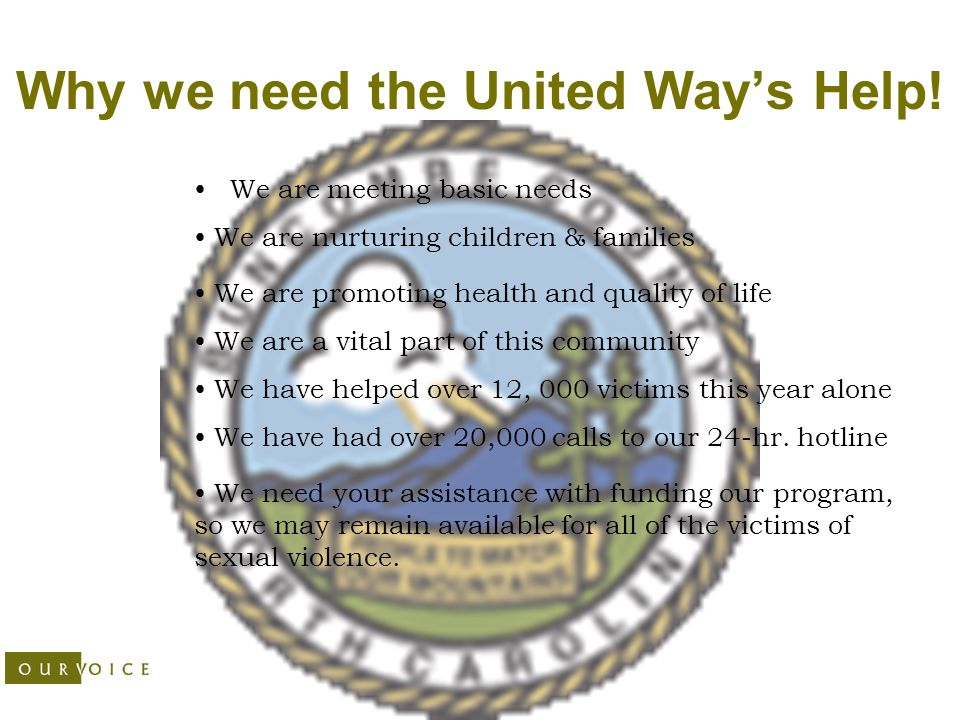 Why we need the United Ways Help.