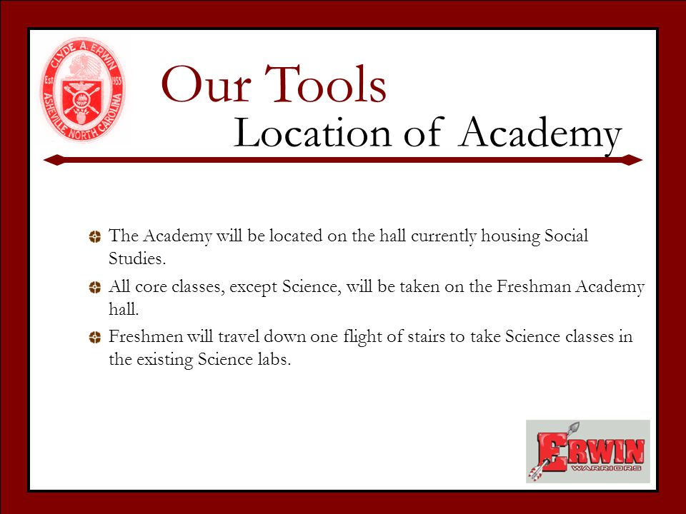 The Academy will be located on the hall currently housing Social Studies.