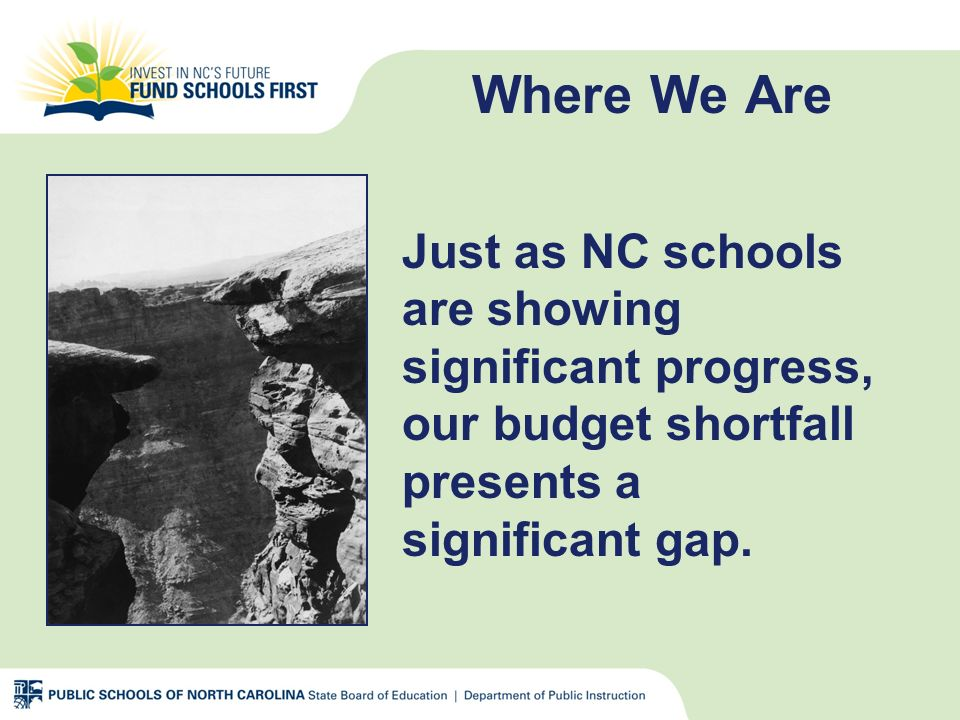 Where We Are Just as NC schools are showing significant progress, our budget shortfall presents a significant gap.
