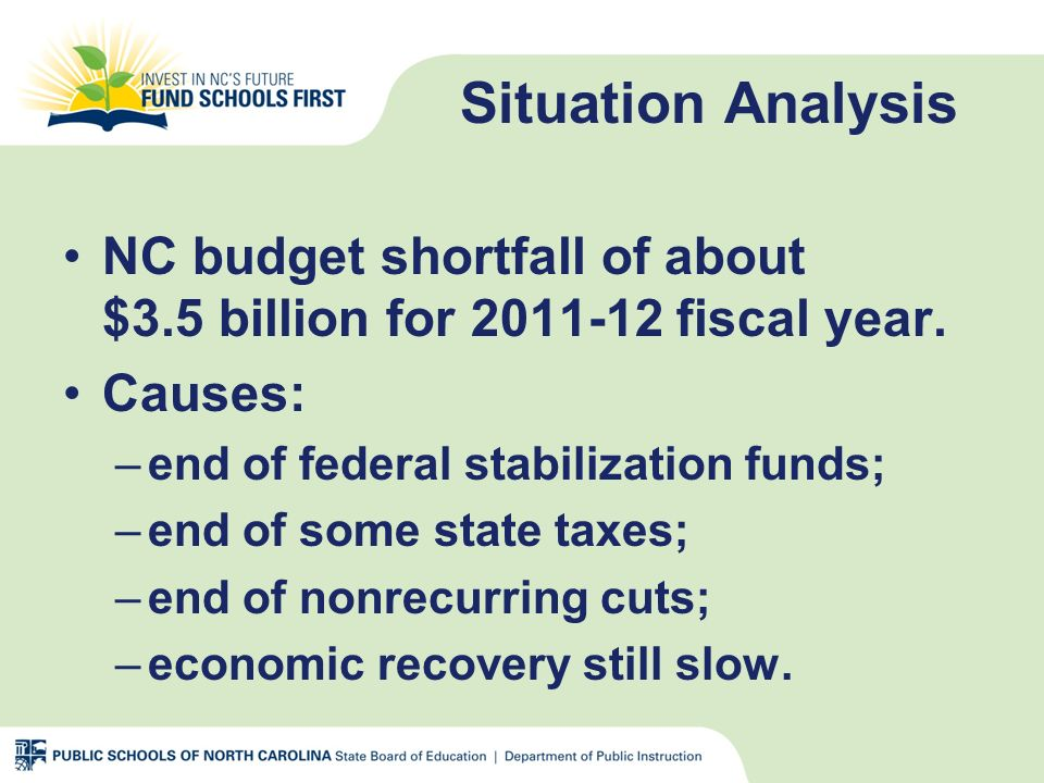 Situation Analysis Public school budgets have been cut for three consecutive years.