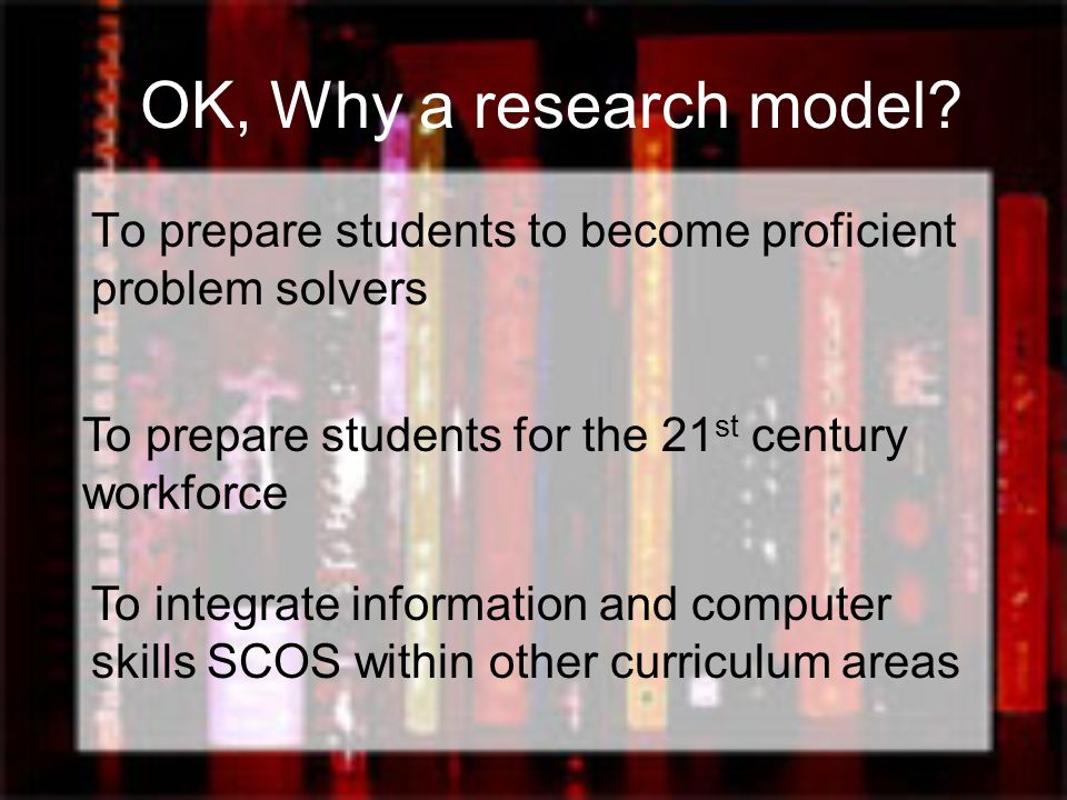 OK, Why a research model? …used whenever students are in a situation, academic or personal, that requires information to solve a problem, make a decis
