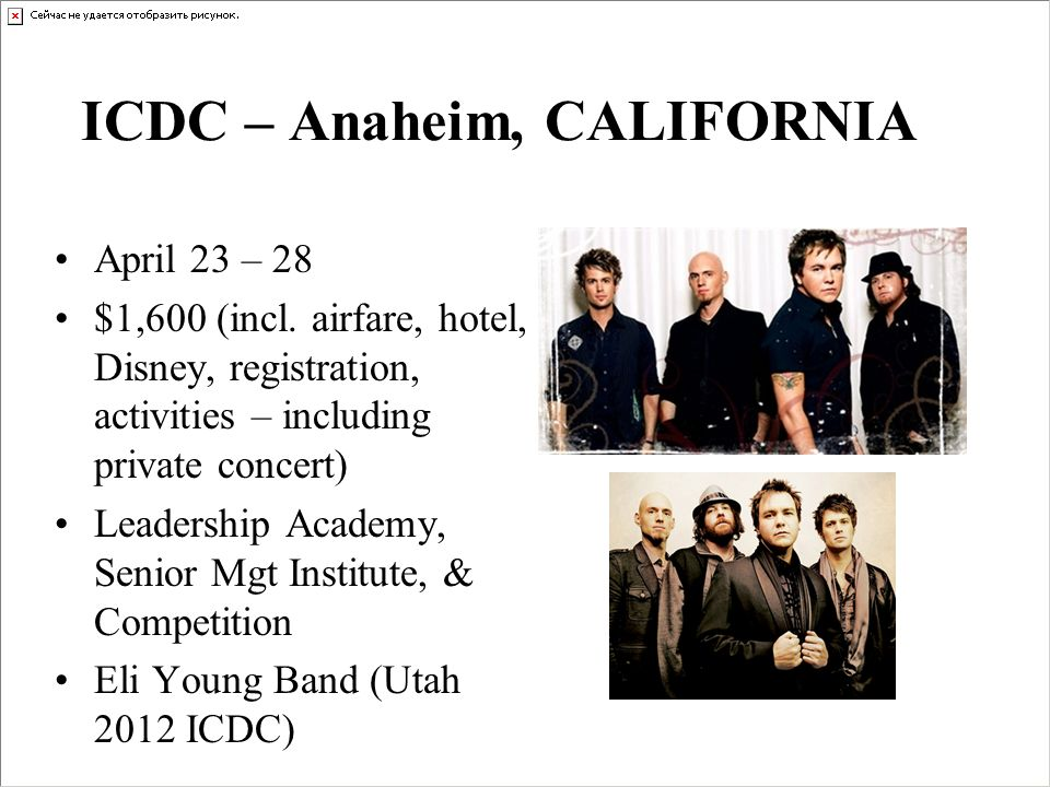 ICDC – Anaheim, CALIFORNIA April 23 – 28 $1,600 (incl.
