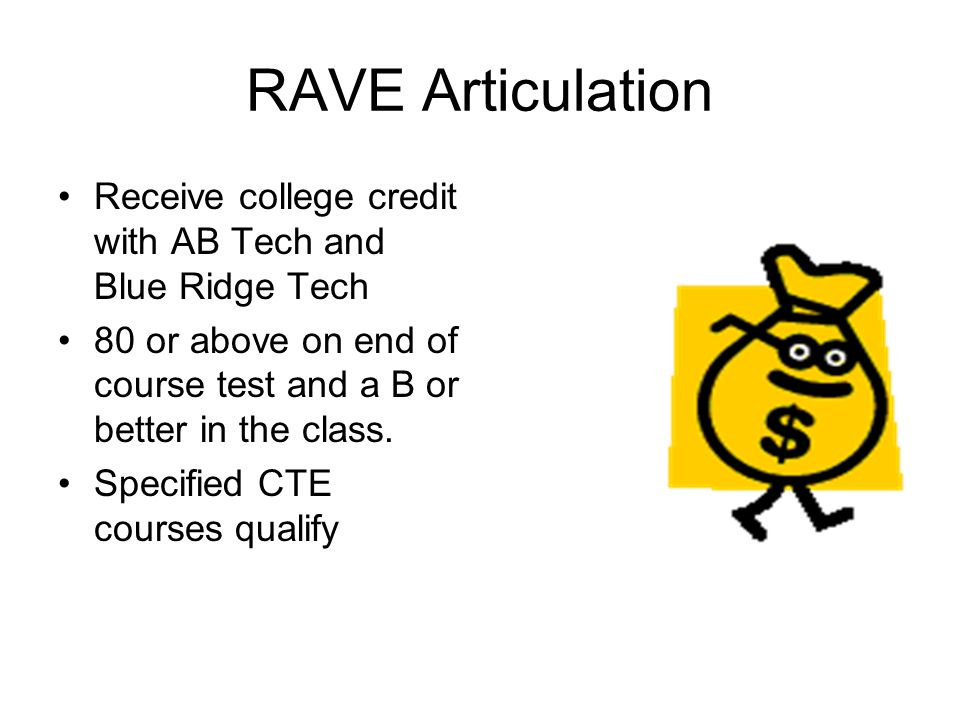 RAVE Articulation Receive college credit with AB Tech and Blue Ridge Tech 80 or above on end of course test and a B or better in the class. Specified