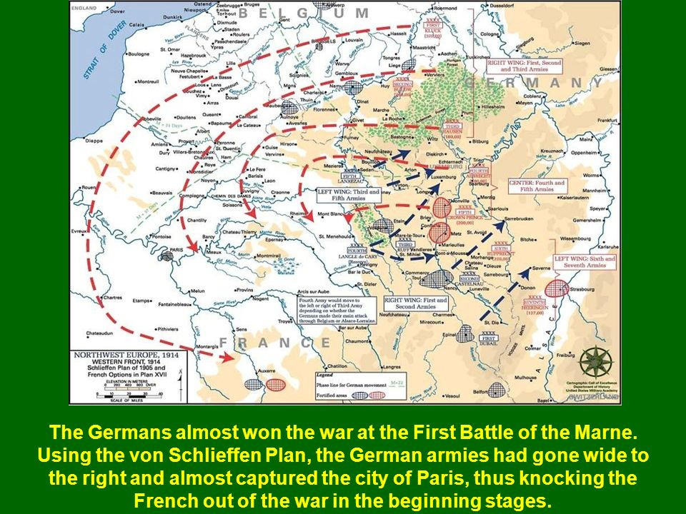 The Germans almost won the war at the First Battle of the Marne.