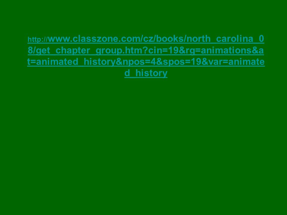 http:// www.classzone.com/cz/books/north_carolina_0 8/get_chapter_group.htm cin=19&rg=animations&a t=animated_history&npos=4&spos=19&var=animate d_history