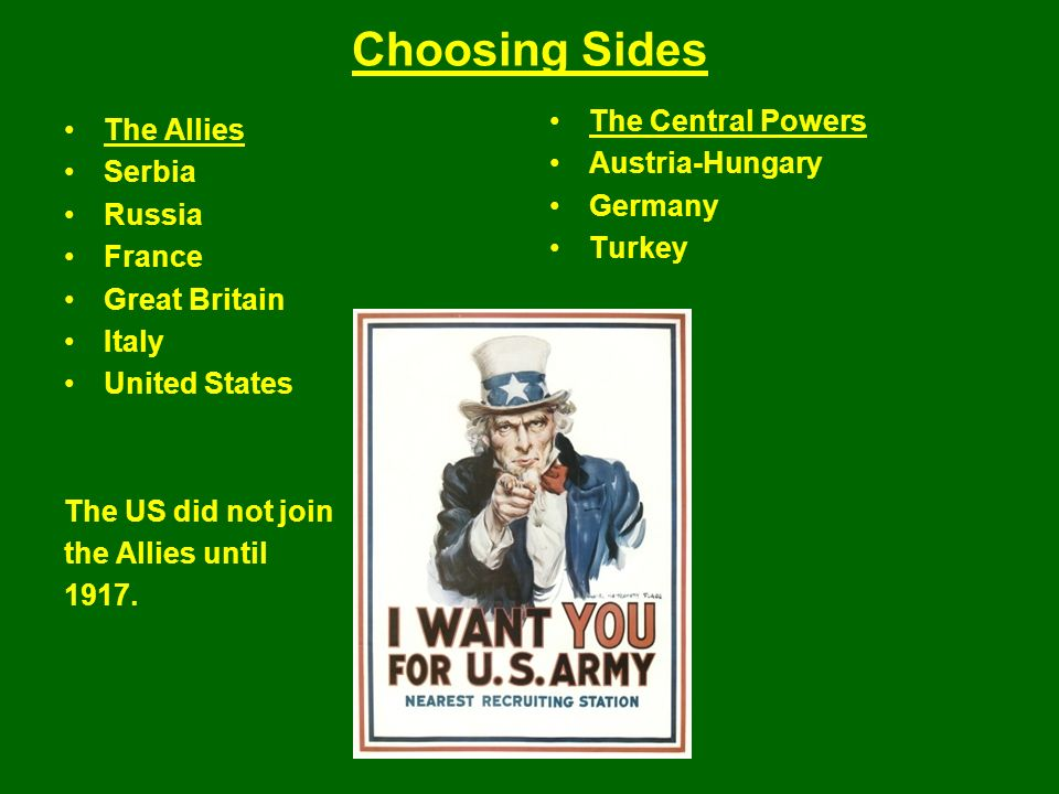 Choosing Sides The Allies Serbia Russia France Great Britain Italy United States The US did not join the Allies until 1917.