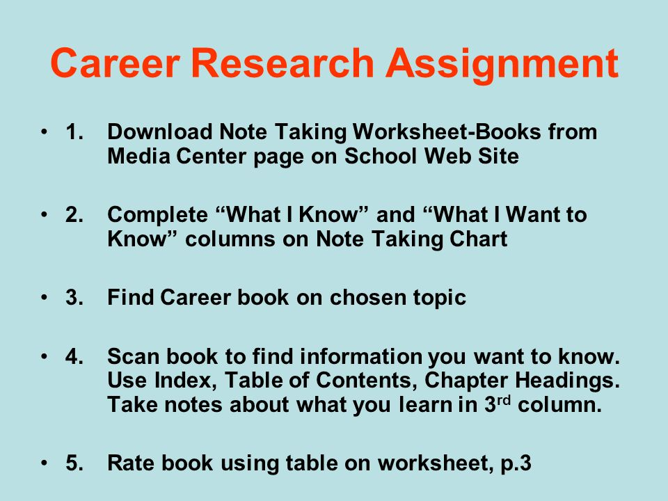 Career Research Assignment 1.Download Note Taking Worksheet-Books from Media Center page on School Web Site 2.Complete What I Know and What I Want to